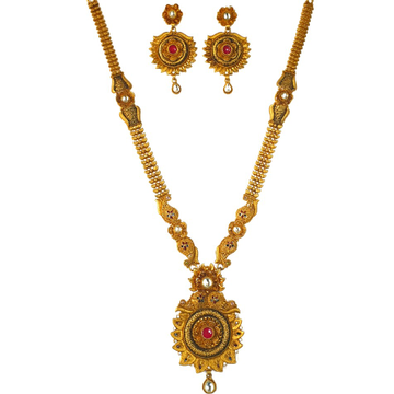 1 gram gold forming antique necklace set mga - gfn0032