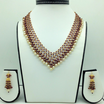 SeaWater Round Pearlswith RubyGold Taar Necklace Set JGT0027