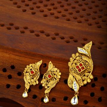 916 gold hallmark Jadtar Pendant Set