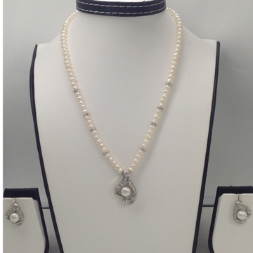 WhiteCZ And Pearls PendentSet With PotatoPearls Mala JPS0141