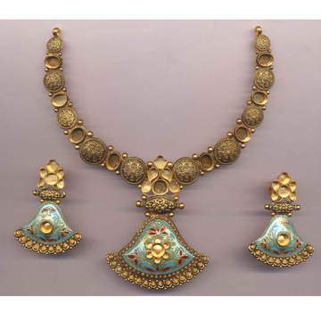 916 Gold Hallmark Blue Menakari Khokha Necklace Set