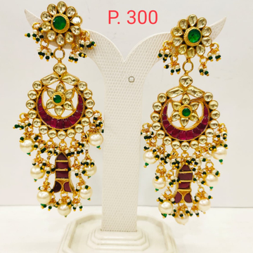 Bridal Ruby stone kundan Design earring with Hanging Moti 1717