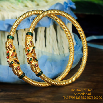 916 Gold Designer Variya Copper Kadli Bangle - 017
