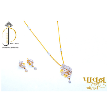 22KT / 916 Gold casualware Pendant chain with earring For Women DKG0008