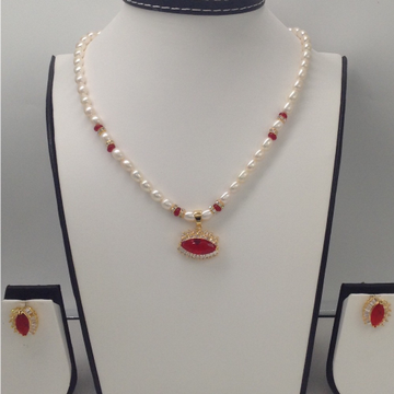White AndRedCZ PendentSet With OvalPearls Mala JPS0050