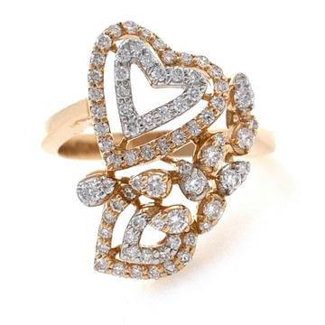 18kt / 750 rose gold heart & floral design diamond ring 8lr178