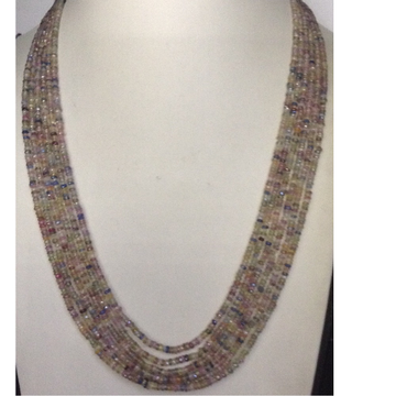 Natural Multicolour Aquamarine Faceted round Beeds 6 Layers Necklace