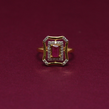916 hallmarked color stone ladies ring by Simandhar Jewellers