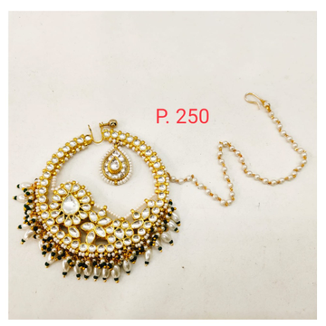 Gold tone kundan work & hanging moti nose ring with pearl chain 1743