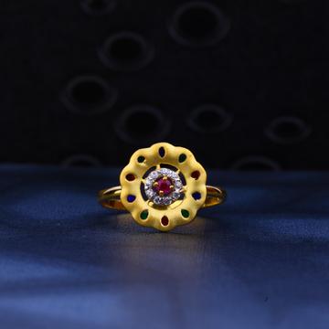 22kt Gold Designer Cz Ring for Ladies LR27