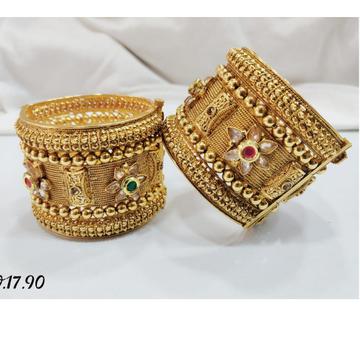 916 Gold rajwadi  bangles GB-0002