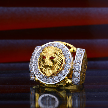 Mens Lion Gold Ring-MHR53
