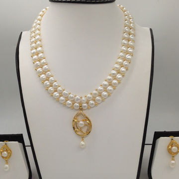 WhiteCZ And Pearl PendentSet With 2Line ButtonJali Pearls Mala JPS0382