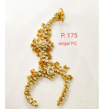 Wedding Gold plated Pearl & kundan Hath phool for Women 1400