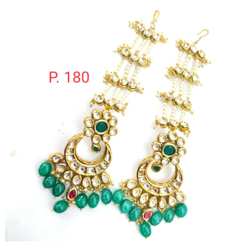 Bridal emerald bead kundan long earring with earchain 1638
