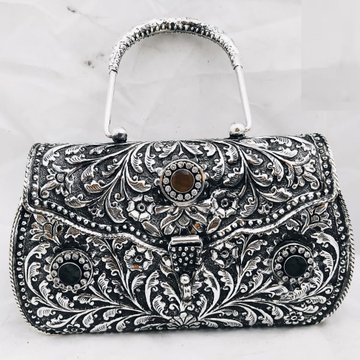 925 pure silver ladies purse with handle in fine n...