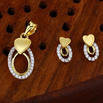 916 gold heart  cz Pendant Set ps-0008