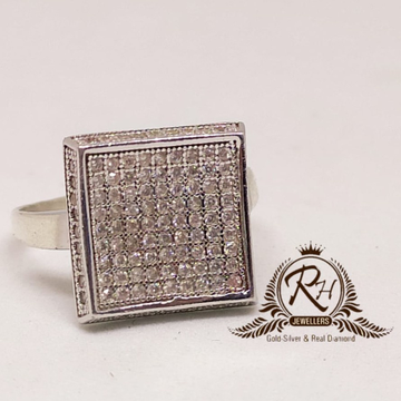 92.5 silver classical square daimond gents rings Rh-Gr946