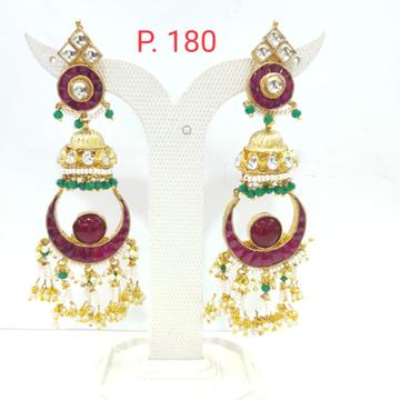 Bridal moon shape red(ruby)stone & pearl jhumka earring 1622