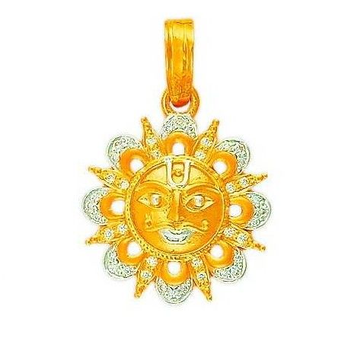 22K/916 Gold CZ Surya Dev Pendent