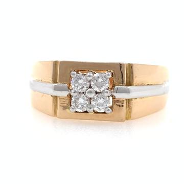 18kt rose gold handmade 4 diamond classic gents ri...