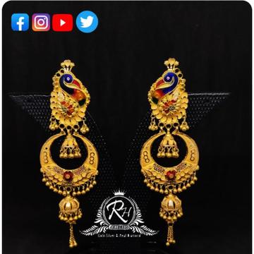 22 carat gold colorful peacock ladies earrings RH-ER201