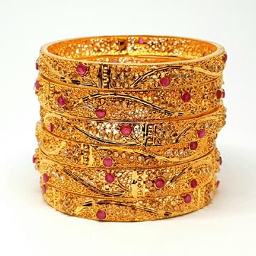 One gram Gold Forming peacock kadli bangles mga - bge0091