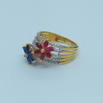 916 HM Gold Diamond Ring with Colour Stone MJ-R001