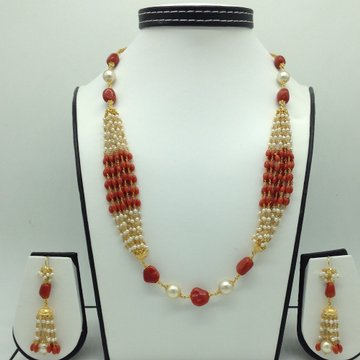 South Sea Pearls CoralOval Tumbles Gold Taar Neck...