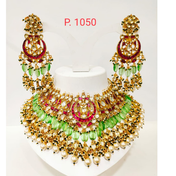 antique choker with maharani style & green and read stone necklace 1237