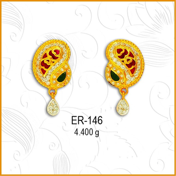 22Kt Gold CZ Keri Shape Earring ER-146