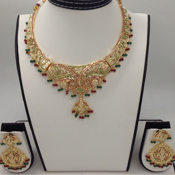 Ruby, Emeralds and Freshwater White Button Pearls Amritsar Necklace Set JNC0027