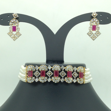 White,Red CZChoker Set With 4Line FlatPearls Ma...