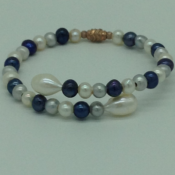 White And Grey Potato Pearls 1 Layers Stiff Bracel...