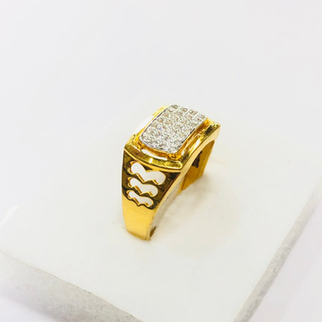 22kt, 916 HM, Yellow Gold AD with side Design Ring For Men JKR210