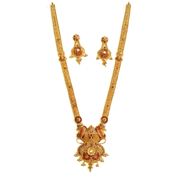 916 Gold Kalkatti Long Necklace With Earrings MGA...