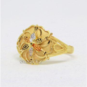 22ct 916 Yellow Gold Ladies Ring Colored Flower Design