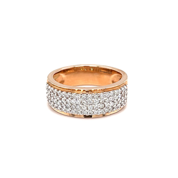 Four line diamond band ring in pave setting with r...