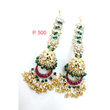 Pink stone & Green Beads long jhumka earring with earchain 1641