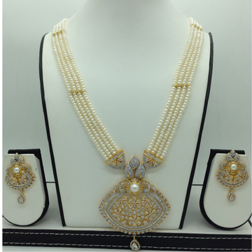 White CZ and PearlsRanihaarSet With 4Line Flat...