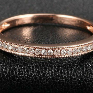 18KT Rose Gold fancy CZ casual ware band for ladie... by