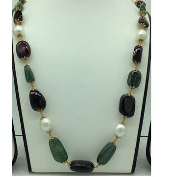 White South Sea Round Pearls With Emerald And Tormaline Oval Tumbles Gold Taar Necklace JGT0002