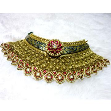 Gold jadtar chokar colorful antique necklace set