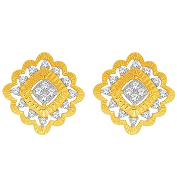 18k gold real diamond square shape earring mga - r...