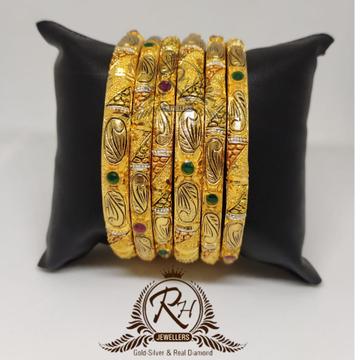 22 carat gold ladies stylish meena stone bangle se...