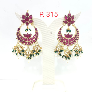 Stylish Flower & Moon Shape with pink stone Earring 1618