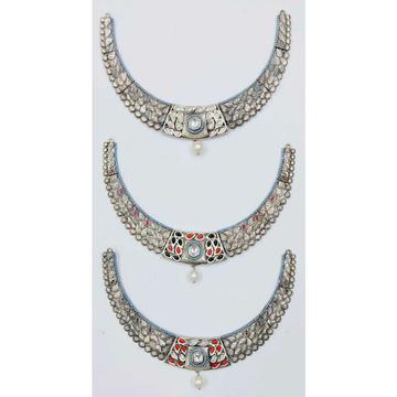 92.5 Sterling Silver Jadtar & Kundan Necklace Ms-2848