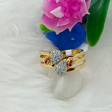 916 GOLD 3 LAYER CZ LADIES RING by Ranka Jewellers