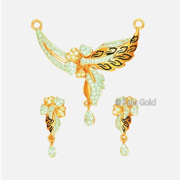 916 CZ Flower Shaped Pendant Set