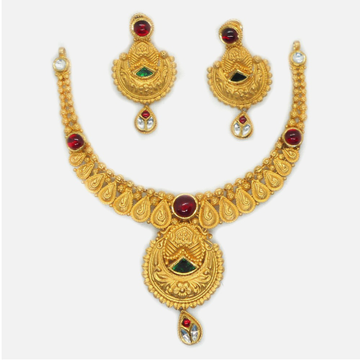 916 Gold Antique Bridal Necklace Set RHJ-6035